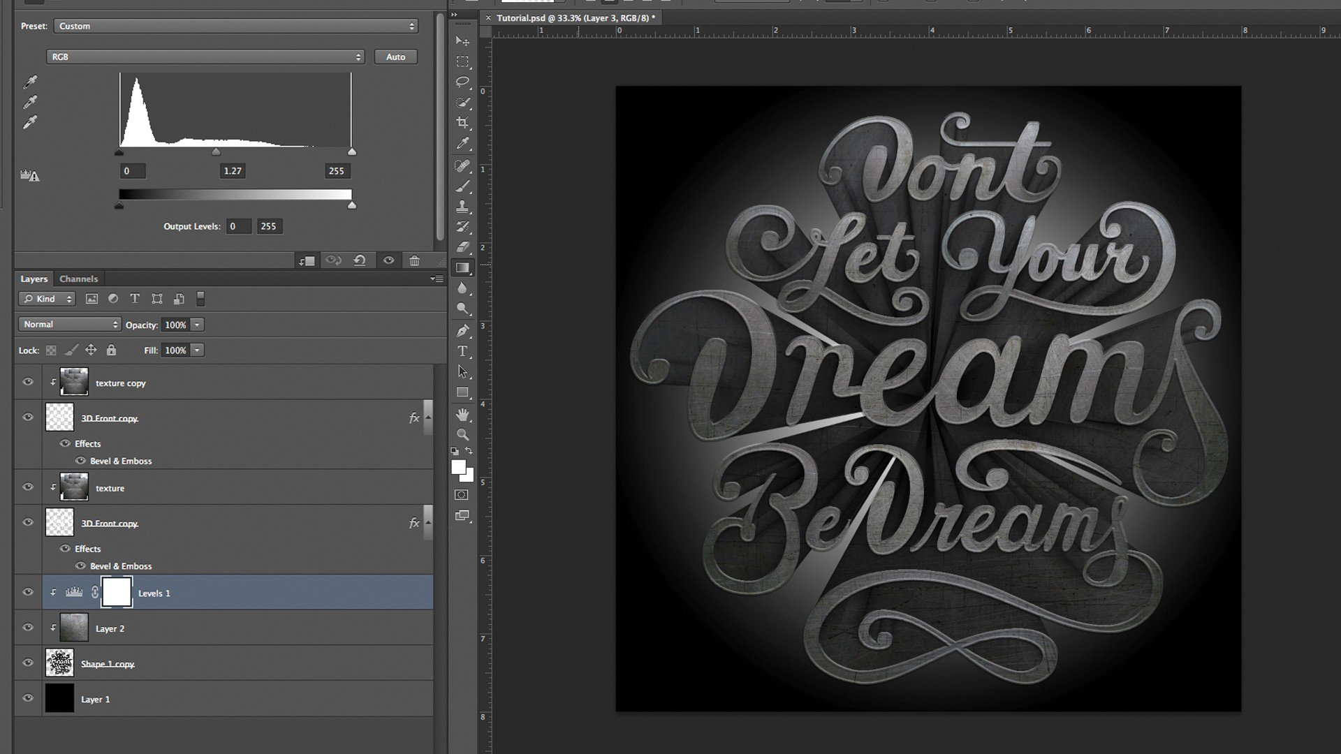 3D Text Photoshop CC