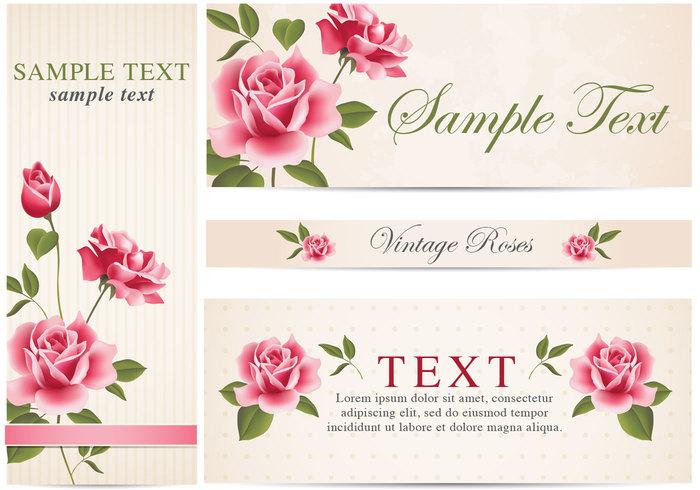 Banner Vector Vintage Roses