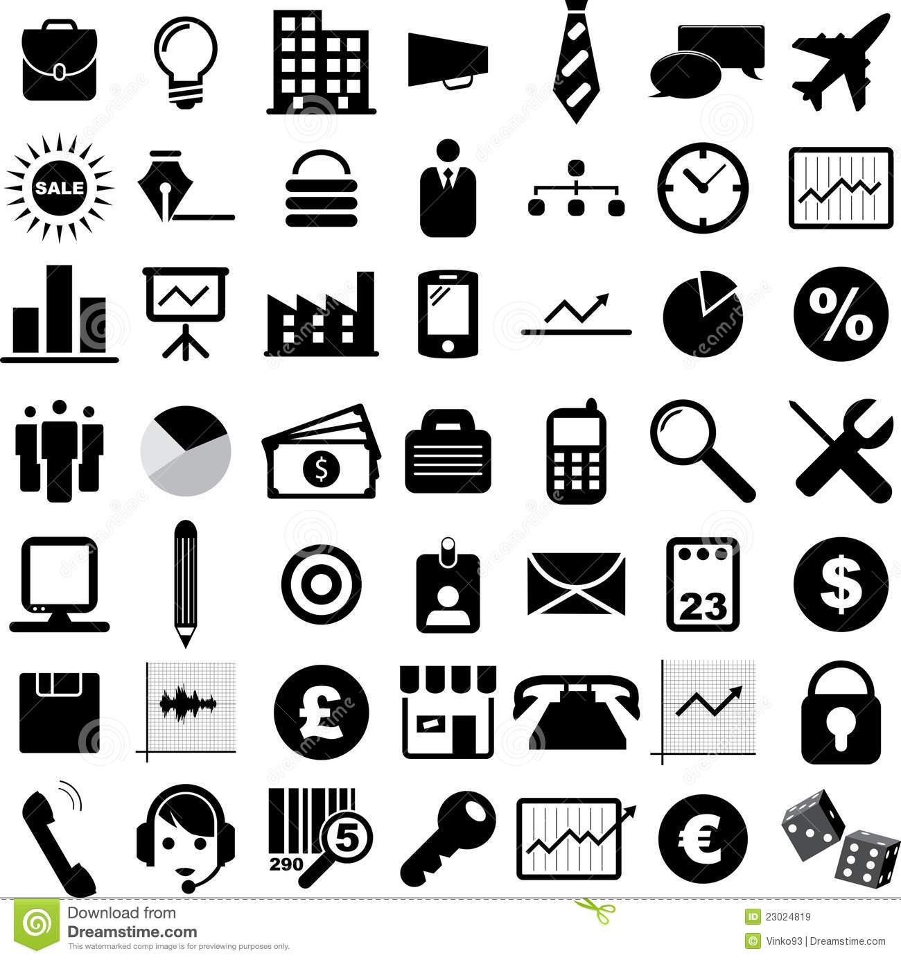 Black and White Business Icons Free