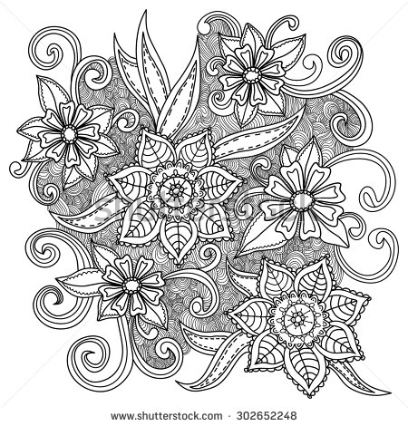 Black and White Doodle Art Flowers