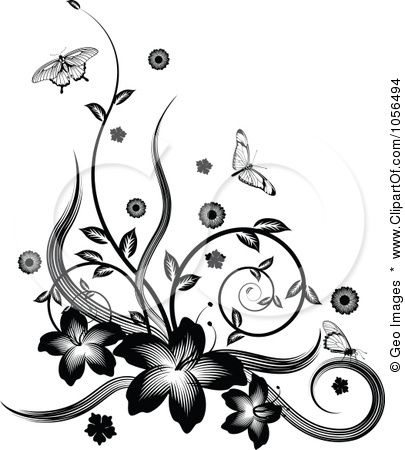 15 Black And White Floral Border Vector Free Images