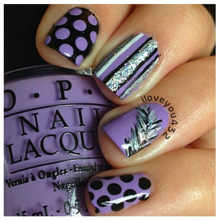13 Purple And Black Nail Designs Images