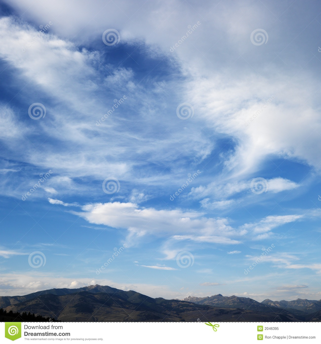 Blue Sky with Clouds Mountains