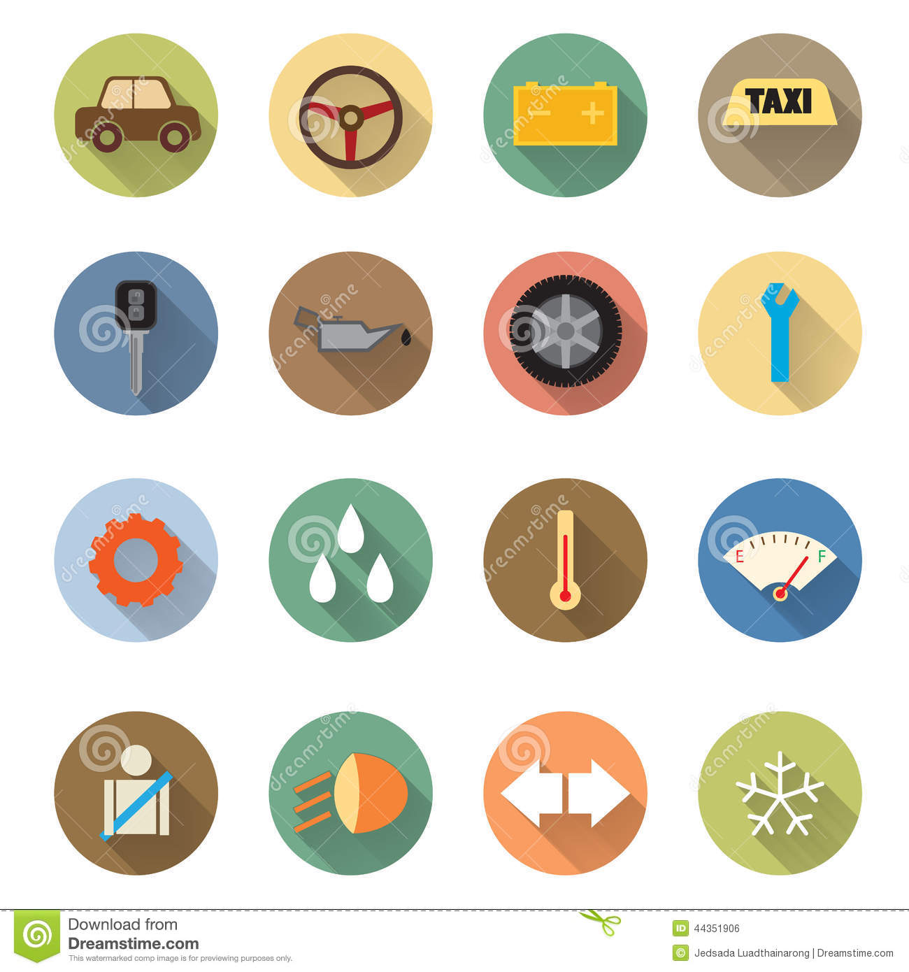 13 Automotive Repair Flat Icon Design Images