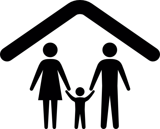 Ceiling Under a Family Vector Icon Outline