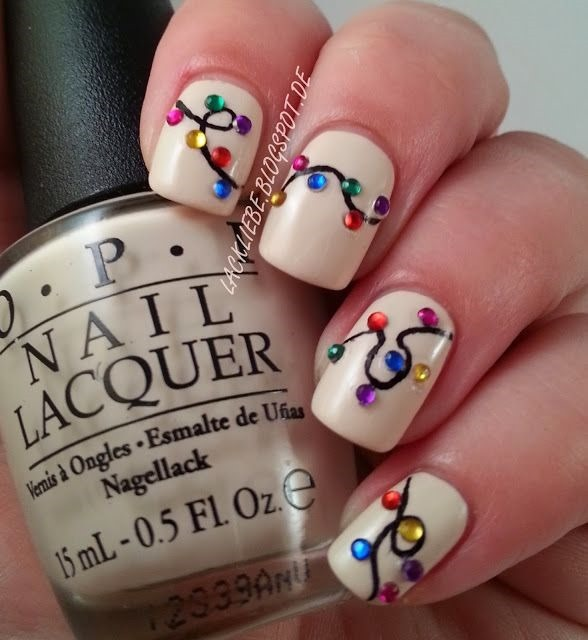 5 Christmas Lights Nail Art Designs Images