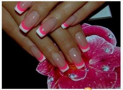Cute Acrylic Nail Designs Pink White