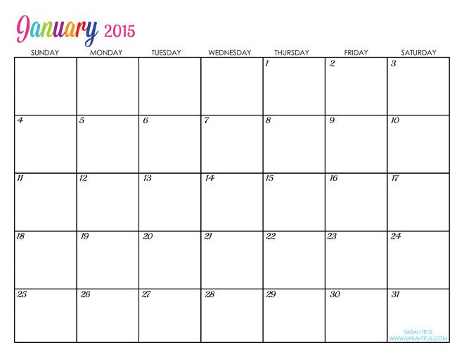 January 2015 Calendar Template Idealstalist