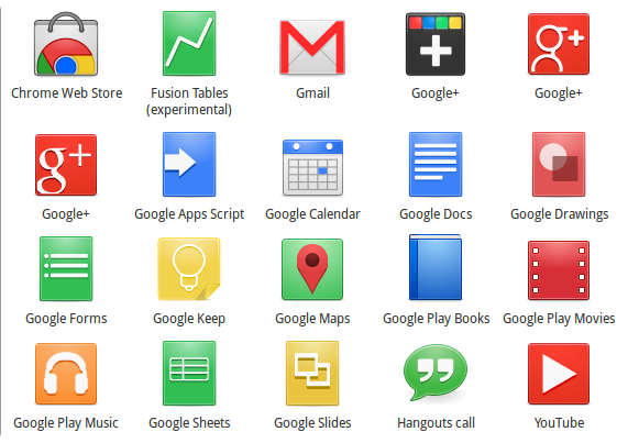 Google Apps Desktop Icons