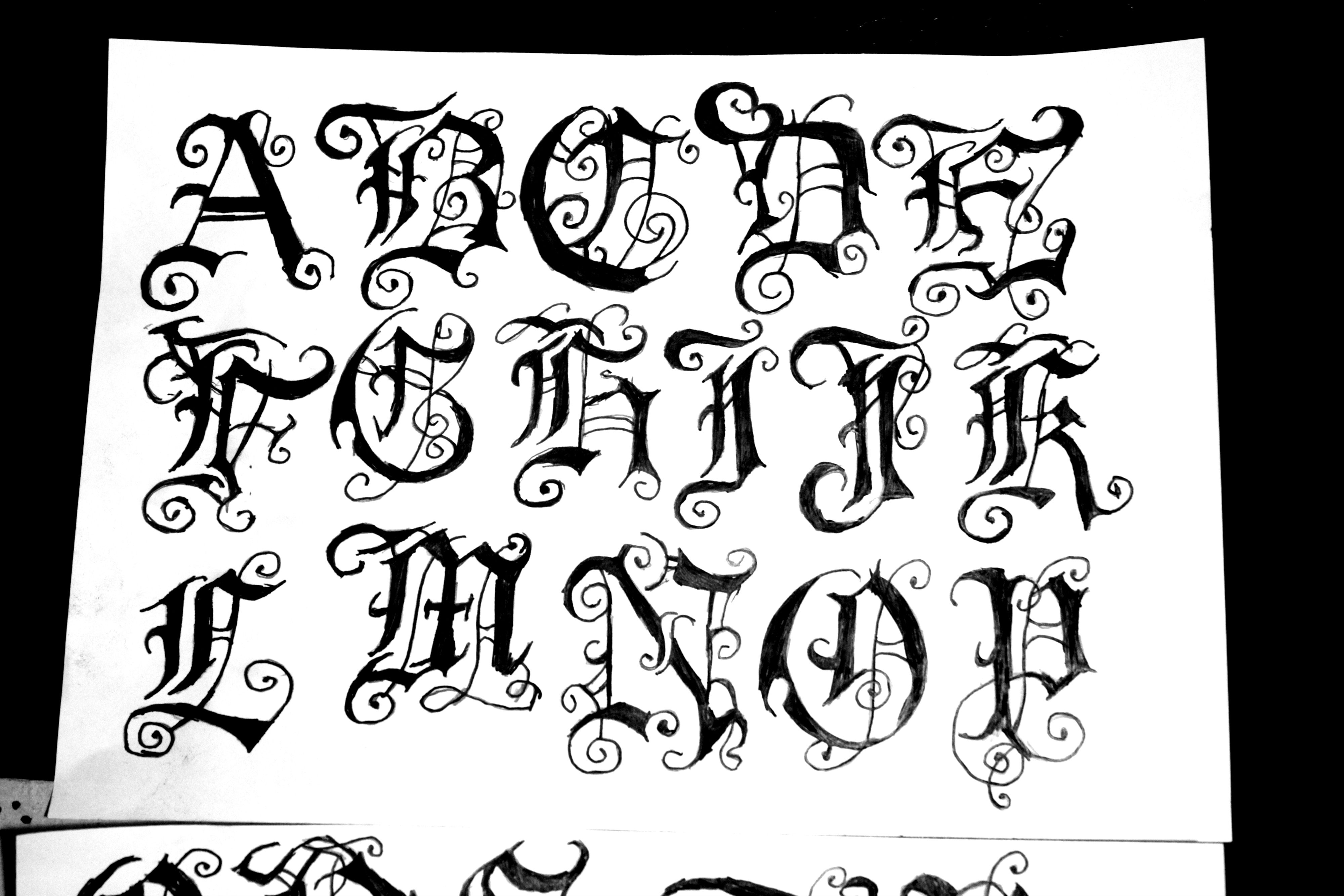 Calligraphy Alphabet Gothic Font Images Old