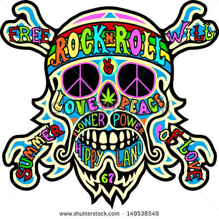 Hippie Skull Clip Art
