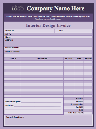 Interior Design Invoice Sample Template