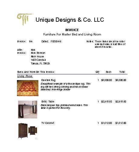 Interior Design Invoice Sample