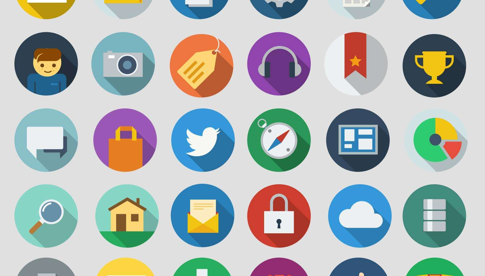 Long Shadow Icons Flat