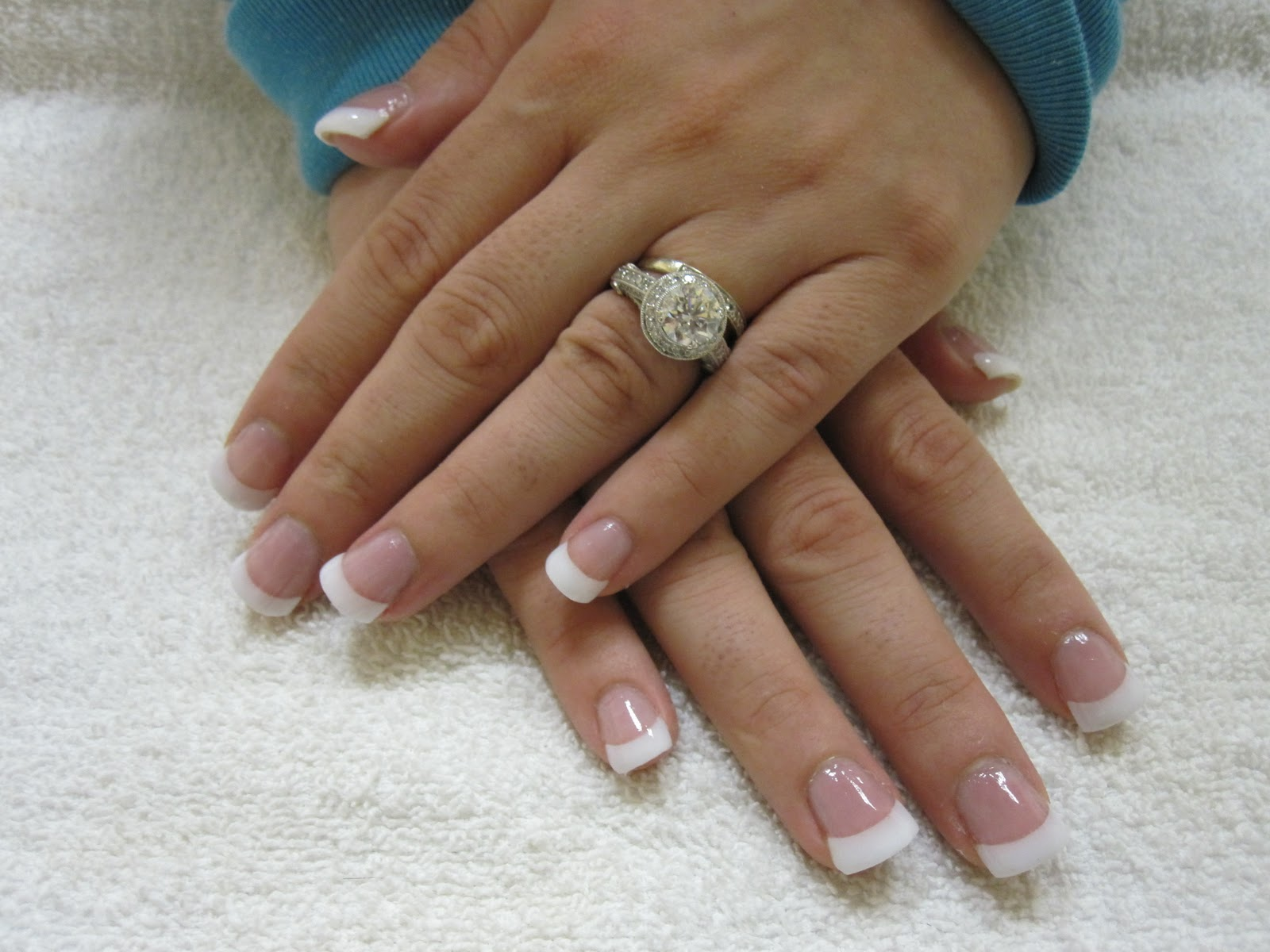 Pink and White Tip Nails