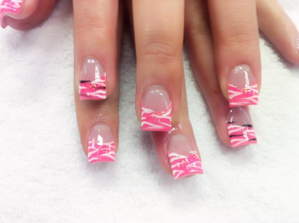 Pink and White Zebra Nail Design