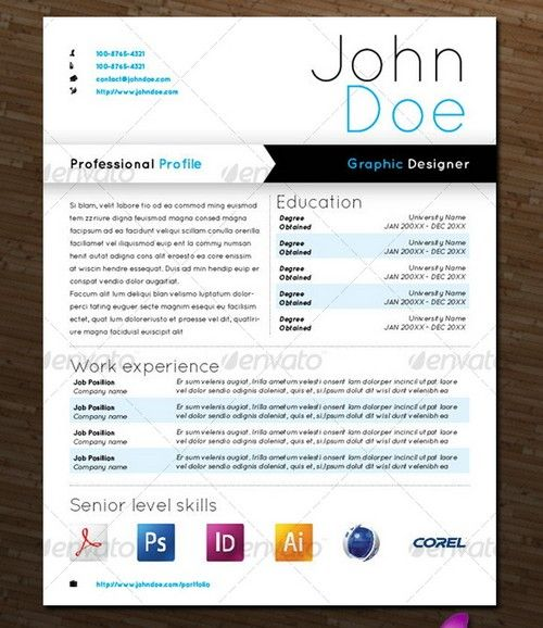 14 Beautiful Graphic Design Resumes Images