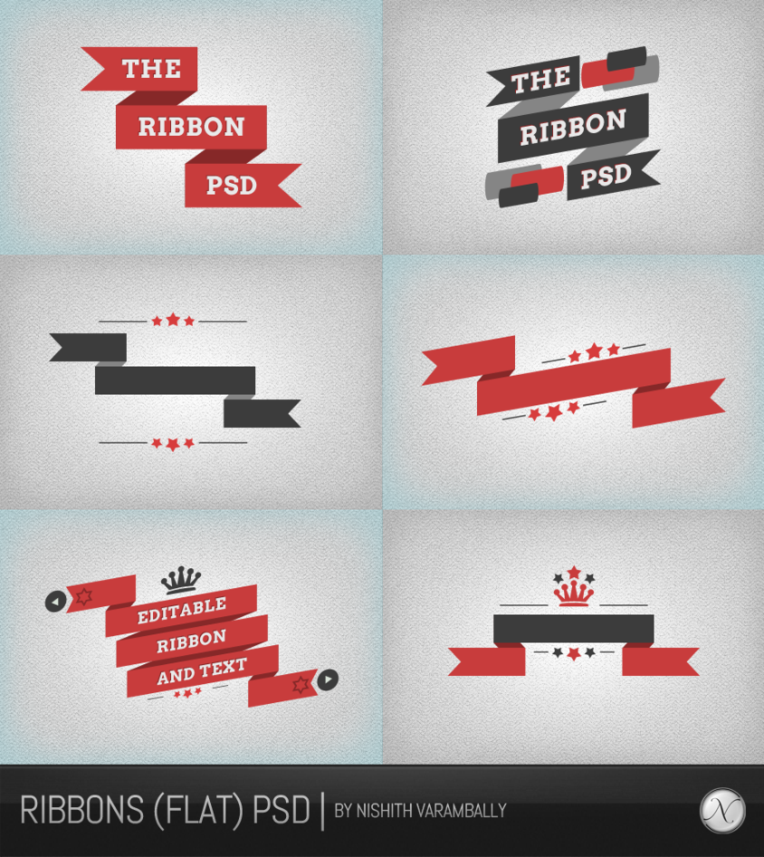 11 Flat PSD Ribbons Images