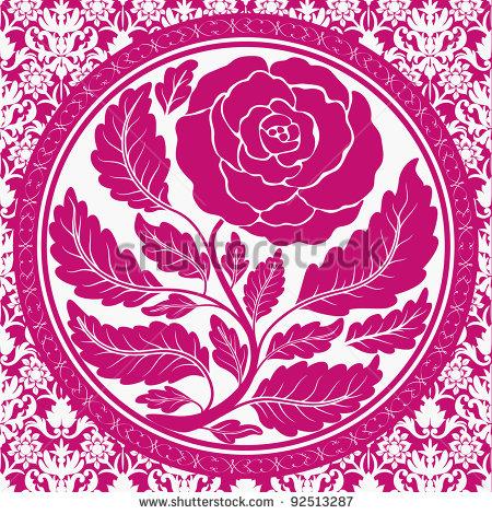 Round Vintage Frame Vector Rose