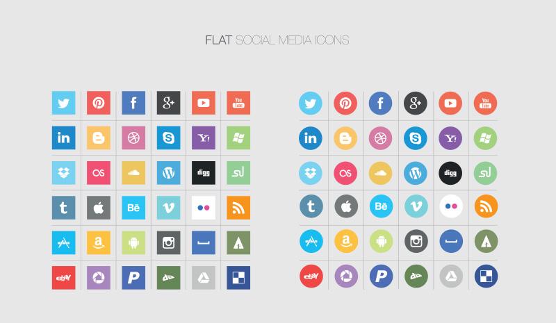 Social Media Icons Vector Flat