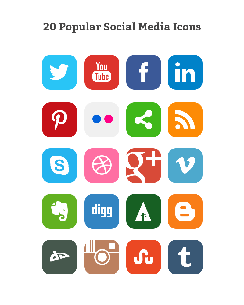14 Plain Social Media Icons Images