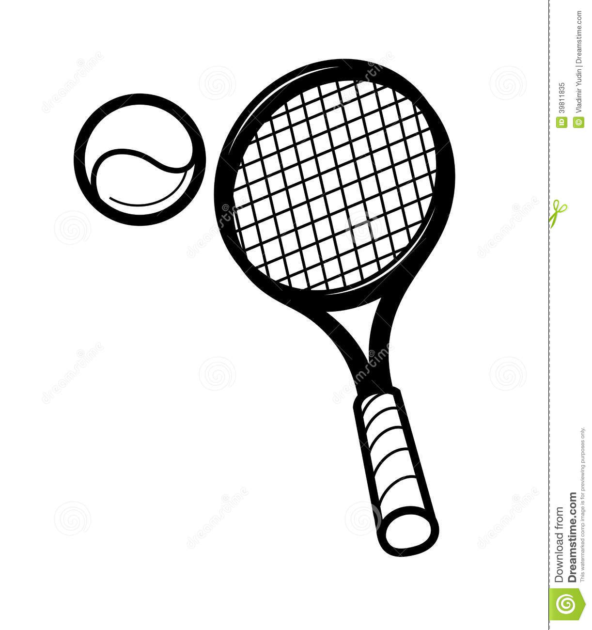 Tennis Racket Clip Art Black and White