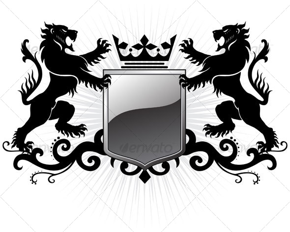 14 Royal Crest Lion Shield Vector Images