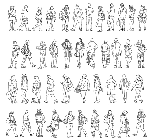 Vector People Silhouettes Outline