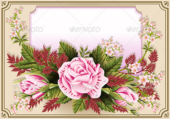 18 Antique Pink Rose Vector Flourishes Images