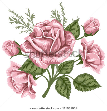 Vintage Rose Bouquet Clip Art