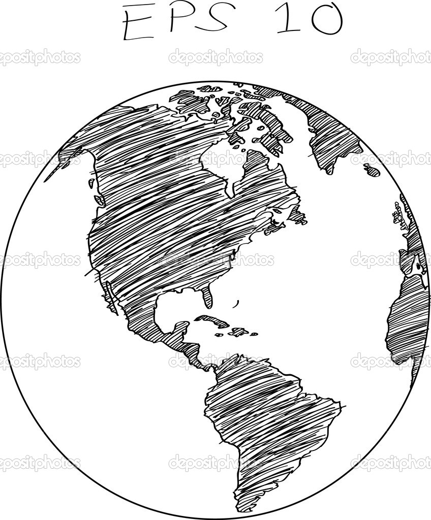 Line Drawing World Map : World map vector line images art