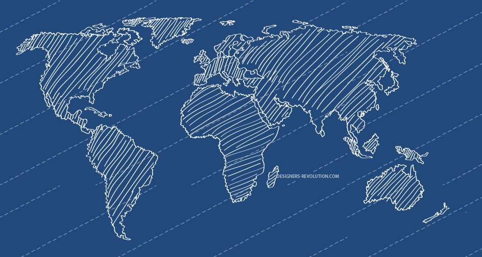 12 World Map Vector Line Images