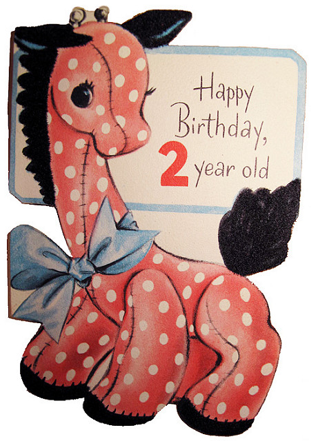 2 Year Old Birthday Card Vintage