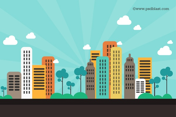 12 City Background Photoshop PSD Images