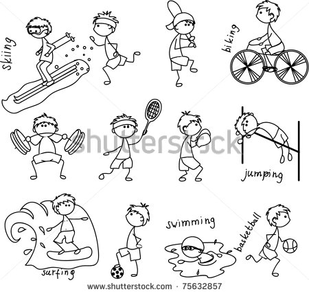 Black and White Cartoon Sports