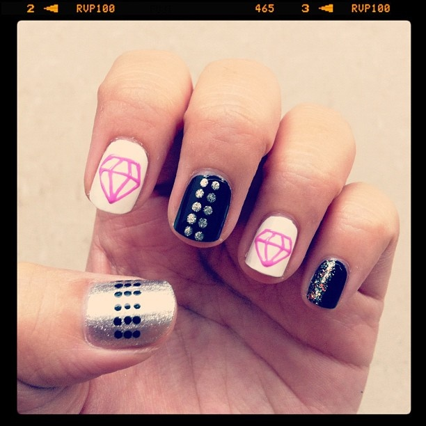 12 Diamond Nail Designs Images