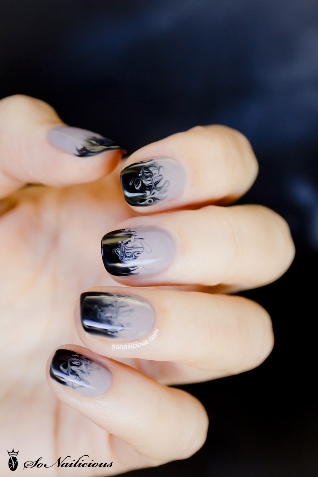 Black Ombre Nail Art