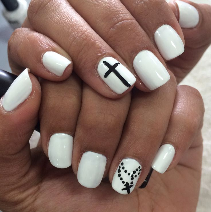 11 Black And White Cross Nail Designs Images White Nail Designs