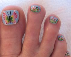 Butterfly Nail Art Toes