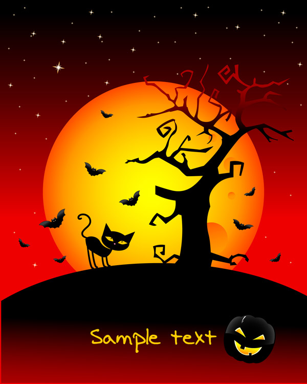 Cartoon Black Cat Halloween Wallpaper