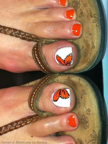 Cute Orange Toe Nail Designs
