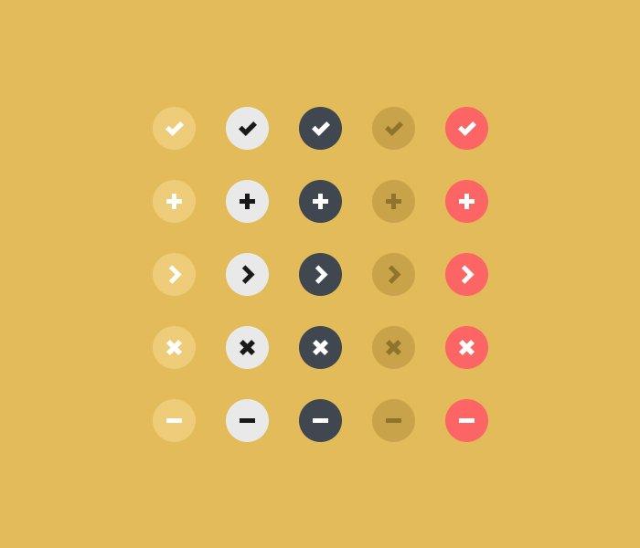 Flat Design Buttons PSD