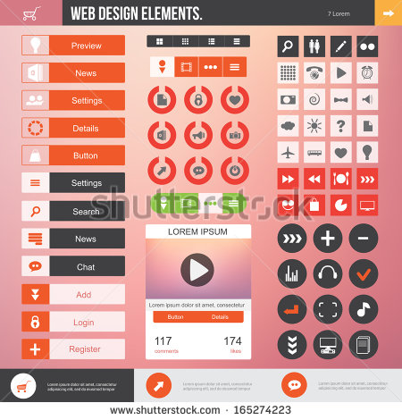 Flat Website Icons and Buttons