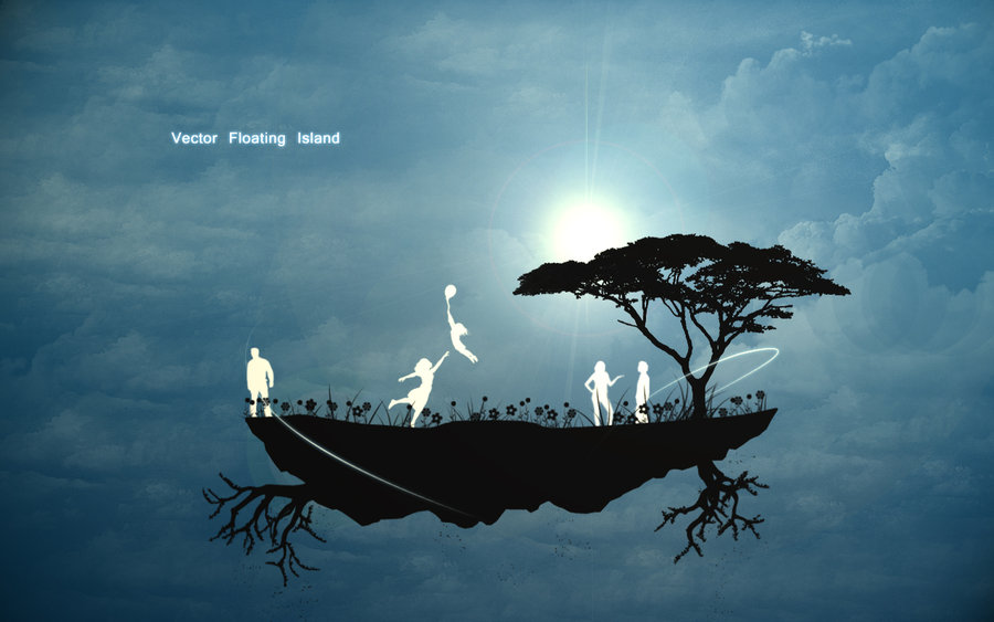 Floating Island Vector Art