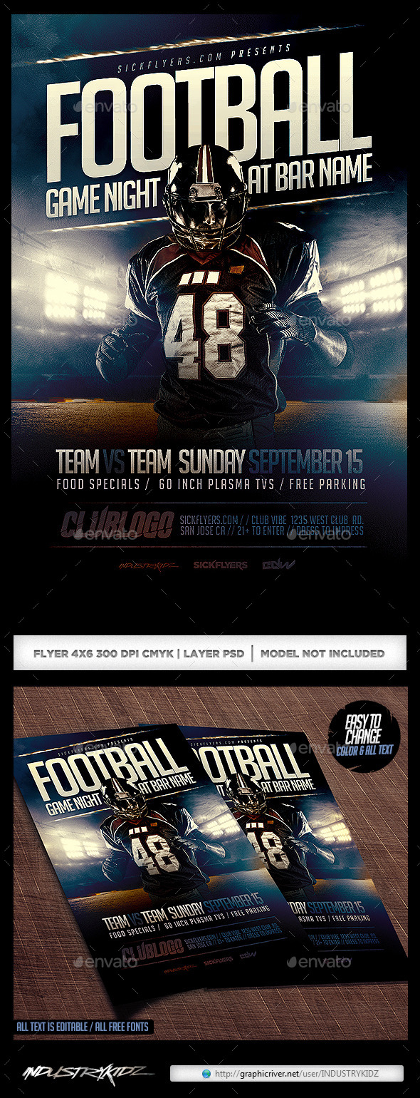 Football Game Flyers Template PSD