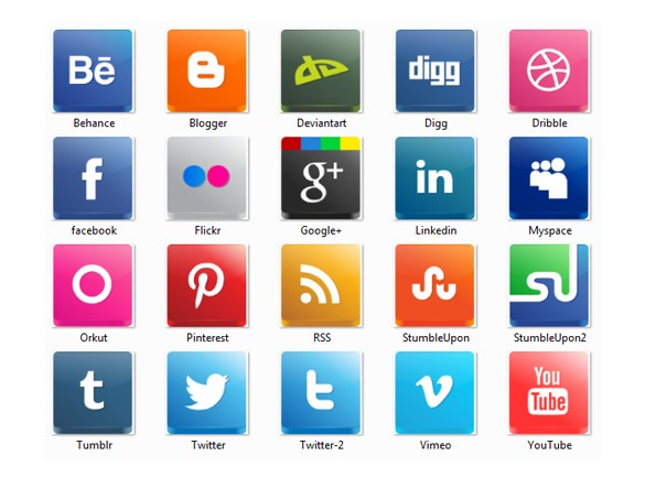 5 Modern Social Media Icons Images