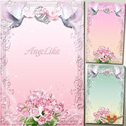 10 Double Wedding Frames PSD Images