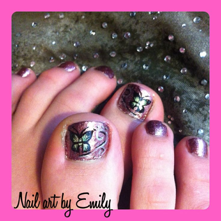 Free Hand Nail Art Butterfly