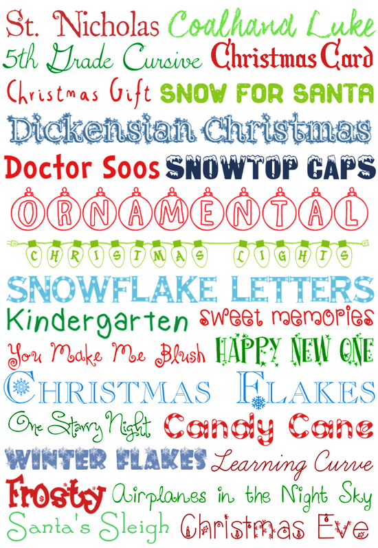 Free Printable Christmas Fonts