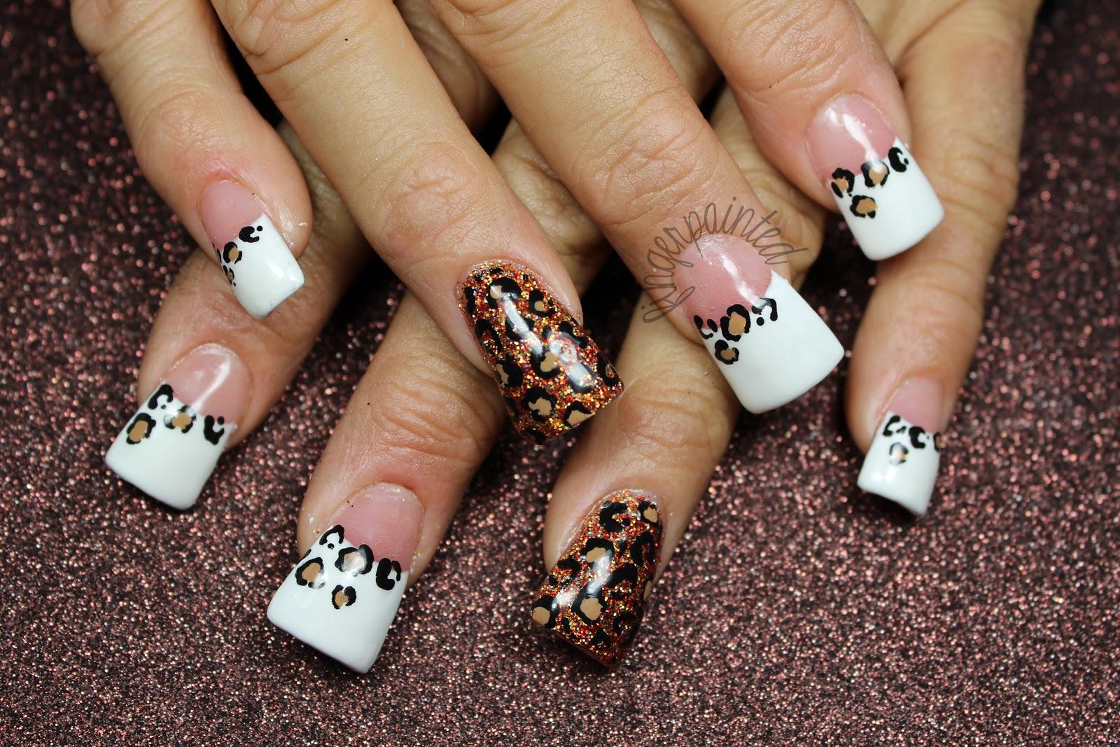 French Acrylic Nails Cheetah